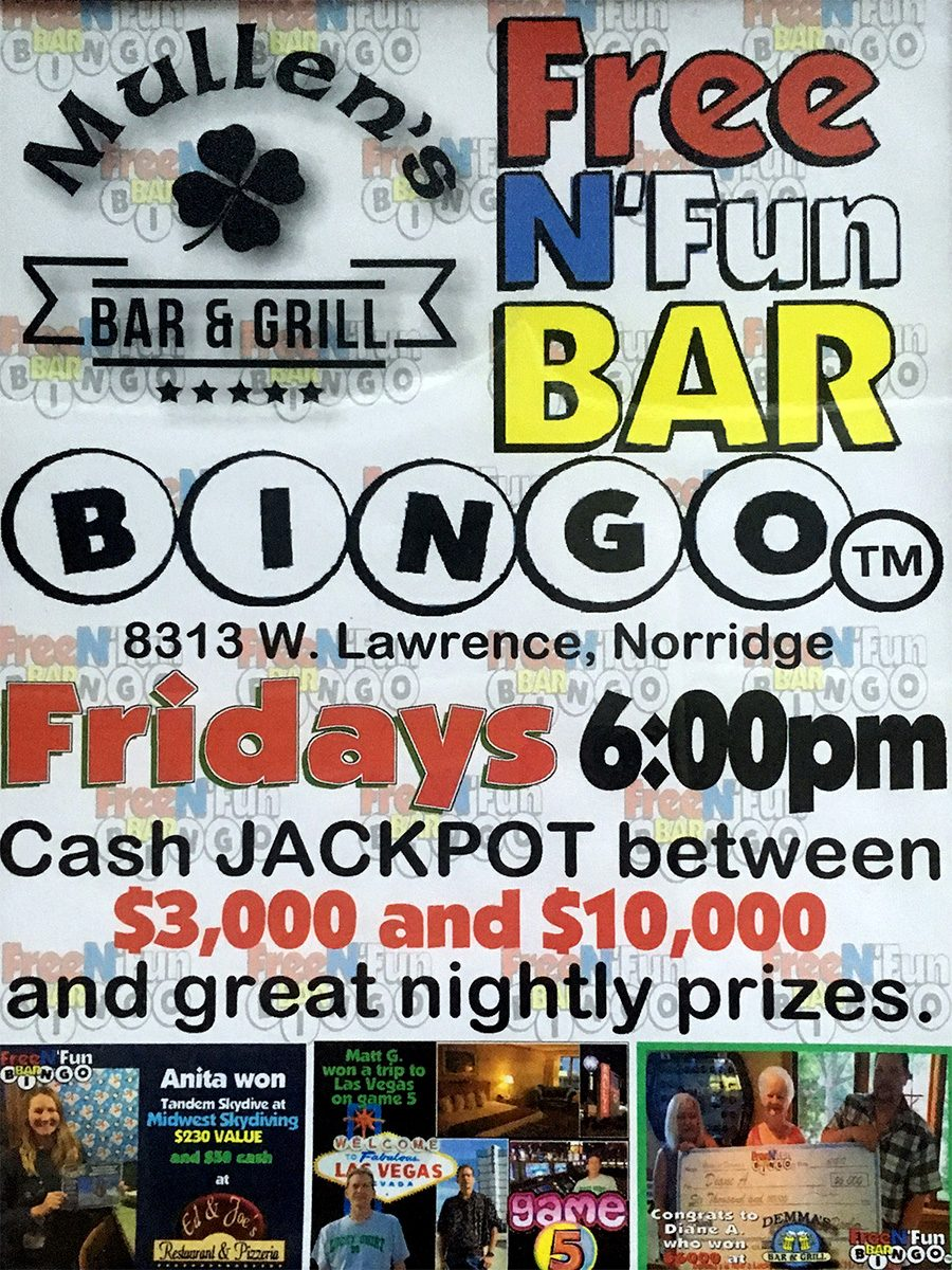 BINGO TONIGHT FROM 6PM – 8PM AT MULLEN'S NORRIDGE
