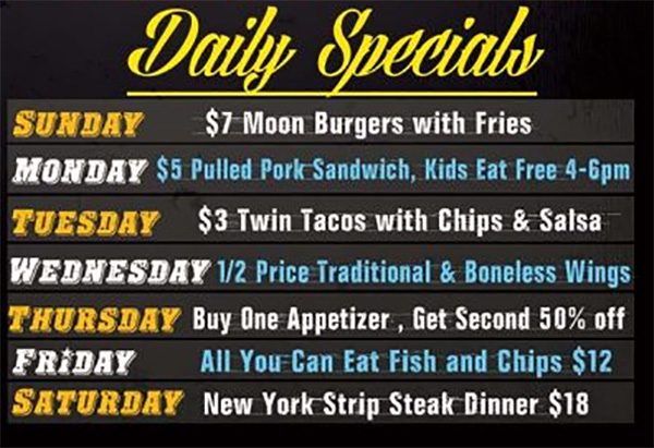 DAILY SPECIALS AT MULLENS'S BAR & GRILL NORRIDGE