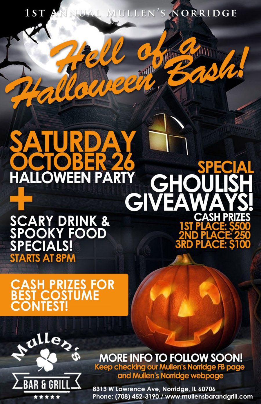 SATURDAY, OCTOBER 26TH – HELL OF A HALLOWEEN BASH