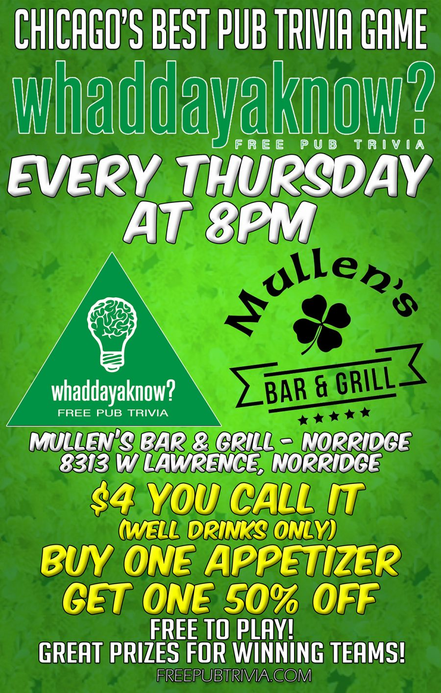 STARTING THURSDAY OCTOBER 17TH – PUB TRIVIA AT MULLEN'S NORRIDGE