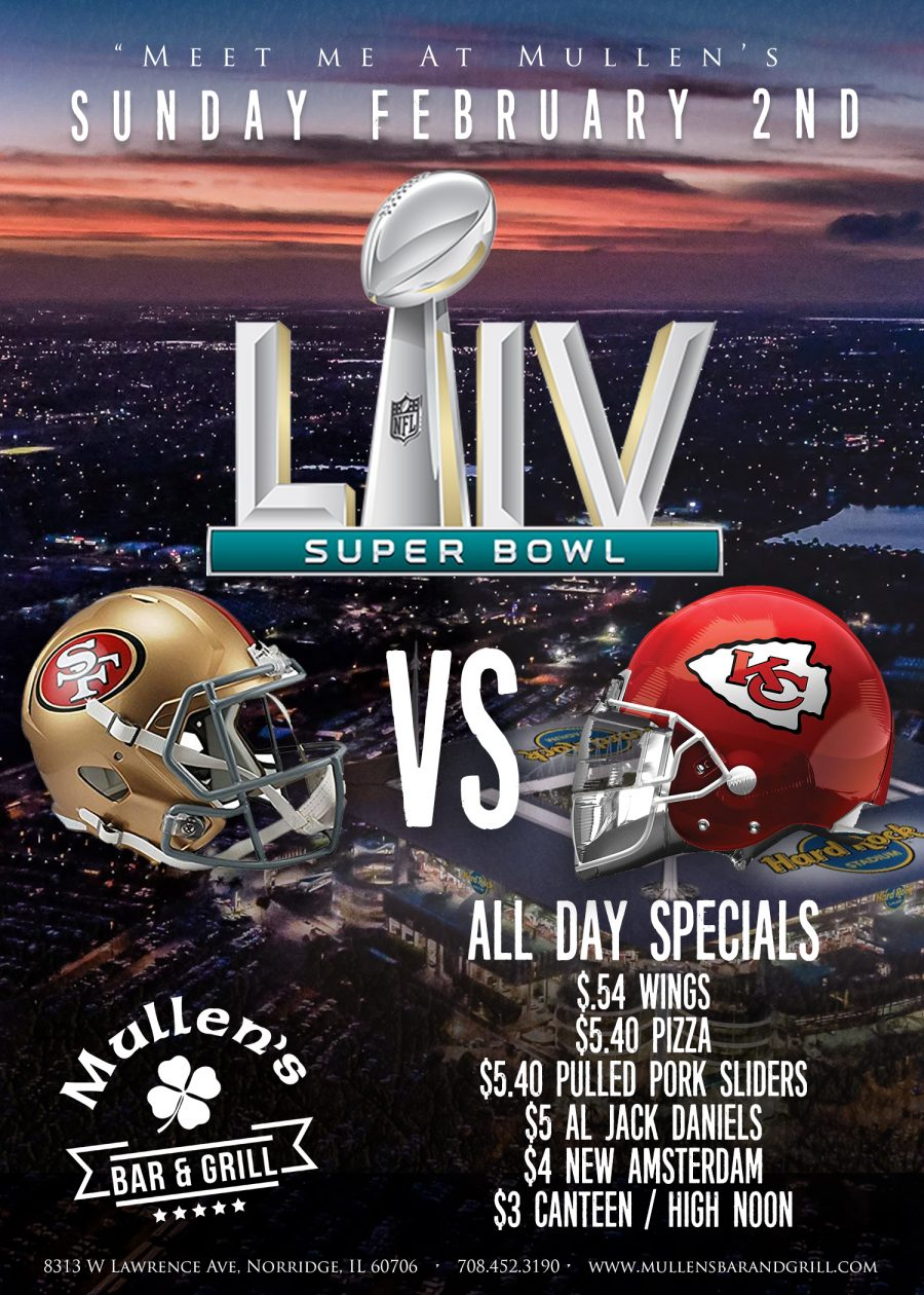 SUNDAY, FEBRUARY 2ND – SUPER BOWL LIV AT MULLEN'S BAR & GRILL