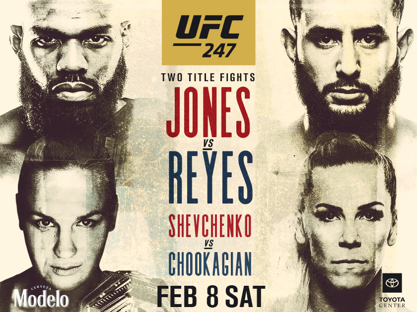 SATURDAY, FEBRUARY 8TH – JONES VS REYES / SHEVCHENKO VS CHOOKAGAIN AT MULLEN'S BAR & GRILL NORRIDGE