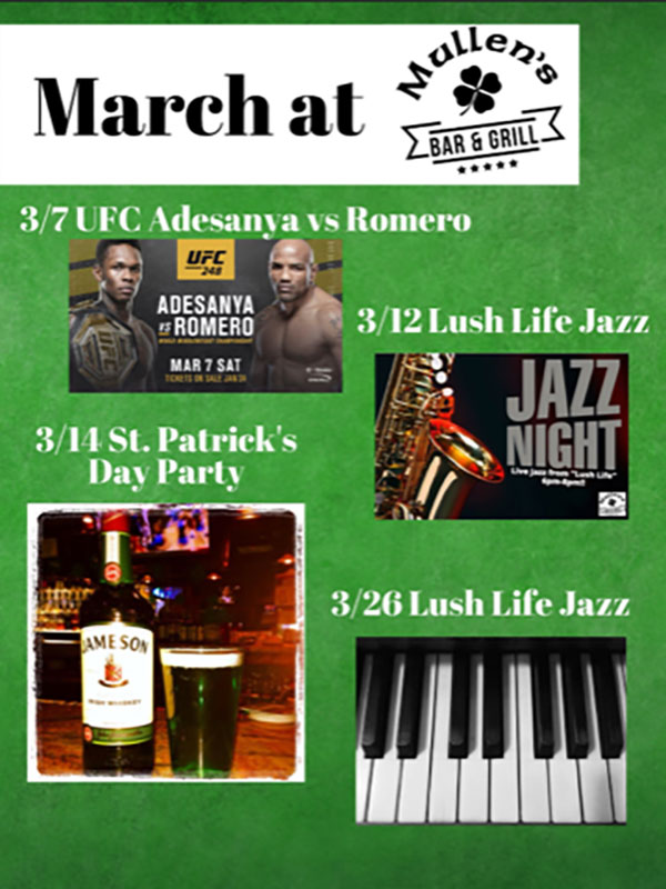 MARCH EVENTS AT MULLEN'S BAR & GRILL NORRIDGE