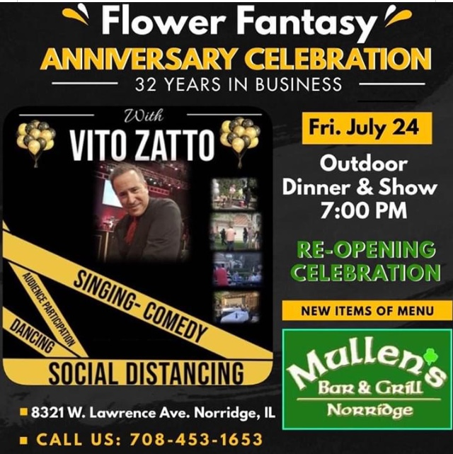 FRIDAY, JULY 24TH – VITO ZATTO PERFORMING! RE-OPENING CELEBRATION!