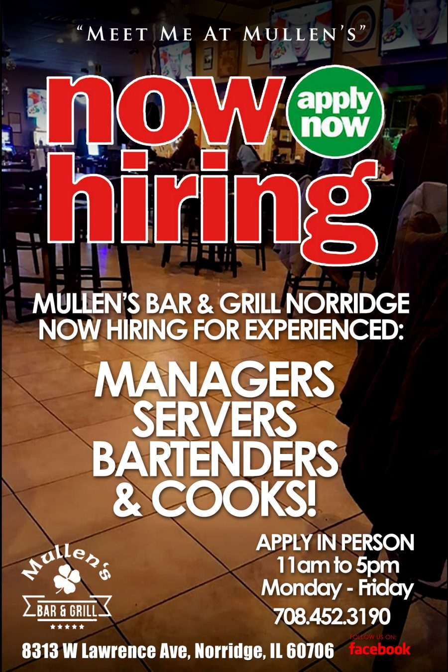 NOW HIRING! MANAGERS, SERVERS, BARTNEDERS, & COOKS!